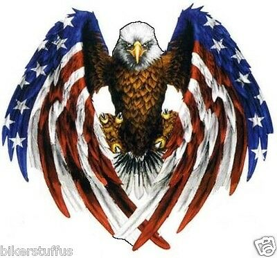 Eagle  With American Flag Sticker Helmet Sticker Bumper Sticker Small Laptop