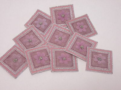 Pack of 10 Pink Embroidered Silver Bead Notes Book Crafts Making Motifs #27A65