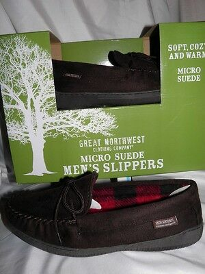 NEW Men's 8 Great Northwest Micro Suede Slippers Brown Shoe  Slip-On FAST SHIP