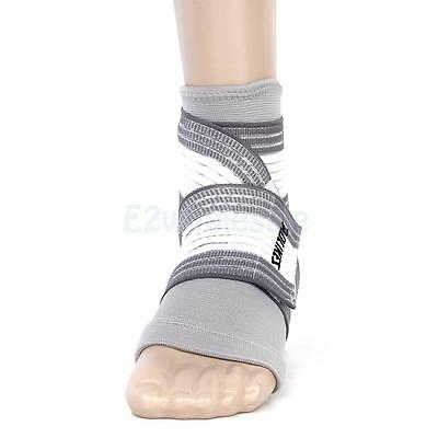 Footful Ankle Foot Elastic Compression Wrap Support Sleeve + Bandage Brace Gray