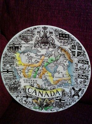"""Vintage Wood & Sons Alpine White English Ironstone """"Canada Provincial Map""""Plate"""