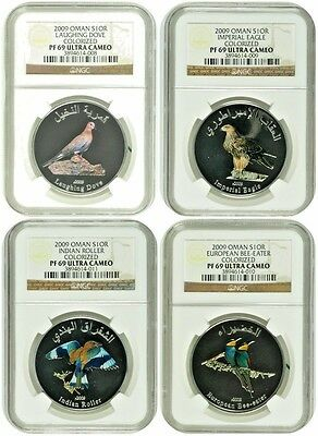 2009 Oman Set 4 Silver Colorized Coins 1 Rial Birds NGC PF69 Box COA Rare