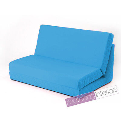 Aqua Fold Out Z Bed Double Chair 2 Seat Sofa Guest Bed Mattress Futon Student