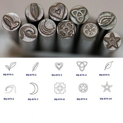 KENT 5mm Metal Punch Stamps: Leaves, Heart, Stars, Moon, Sold Individually