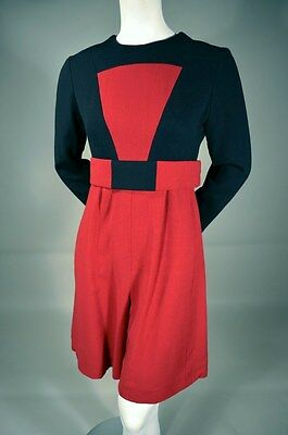 1960s Vintage Two Tone Red and Black MOD Culotte Dress_GUSTAVE TASSELL_I. Magnin