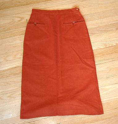 Gorgeous 1940s Vintage wool skirt in dark orange - impeccable!