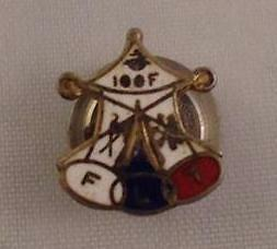 Vtg FLT IOOF Independent Order of Odd Fellows Tent Sterling Pin Enameled