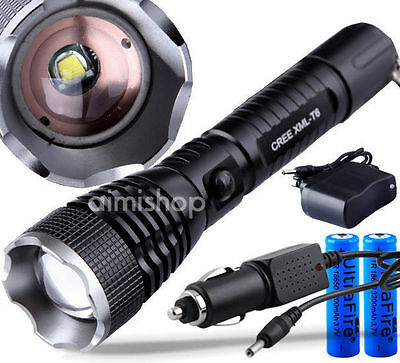 2200 Lm Rechargeable CREE XM-L T6 LED Zoom Flashlight Torch 2x18650 +Car Charger