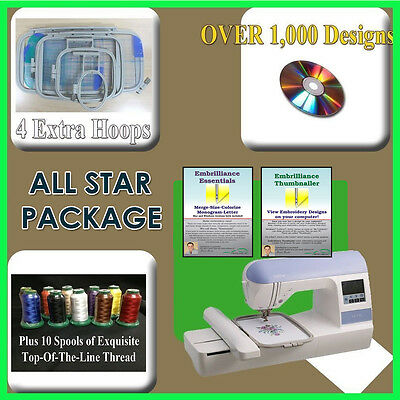 BROTHER PE-770 w DZ820 upgrade EMBROIDERY MACHINE & EMBRILLIANCE SOFTWARE COMBO