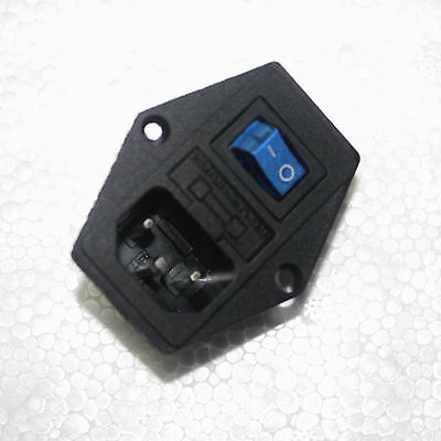 1x BLUE LED Rocker Switch Fuse Holder IEC320 C14 Inlet Power Socket AC250V 10A