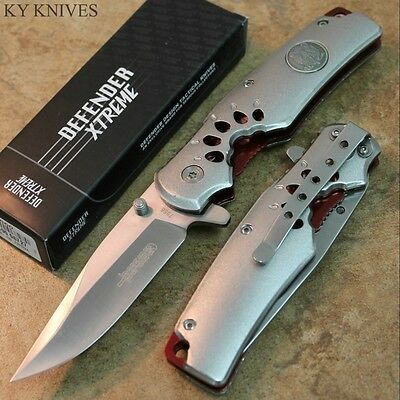 "8"" Wolf Imprint Tactical Assisted Open Pocket Knife Silver W/Red Inlay 7658 zix"