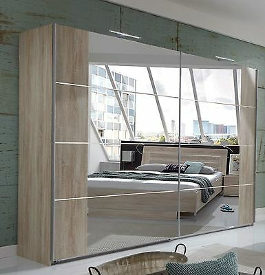 Wimex German Davos Oak mirror Chrome 2  Door 270cm Sliding Slider Door Wardrobe