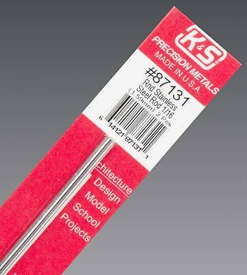 NEW K&S Round Stainless Steel Rod 1/16  (2) 87131