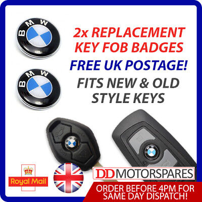 2 X Bmw Remote / Key Fob Badge Logo Emblem Sticker 11Mm For 1 3 5 6 7 M3 M5 X5