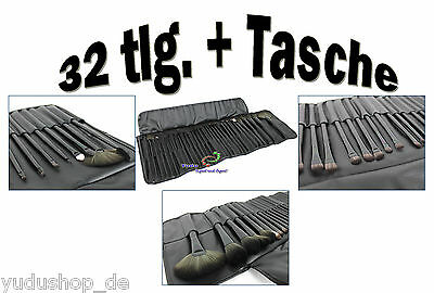 32 tlg. Pinsel Make-Up Kosmetik Schminkpinsel Set inkl Tasche