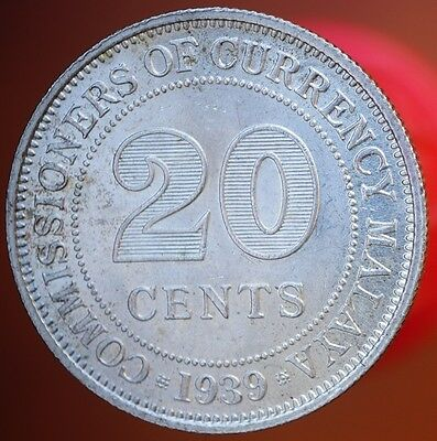 1939 Malaya 20 Cents KM# 5 Silver Coin MS UNC King George VI