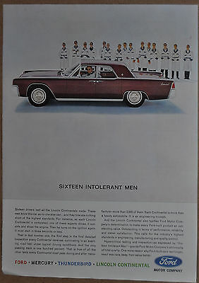 1963 Lincoln Continental advertisement, LINCOLN CONTINENTAL side-view photo