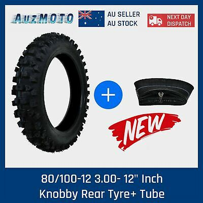 "80/100-12 3.00- 12"" Inch Rear Knobby Tyre Tire + Tube PIT PRO Trail Dirt Bike"