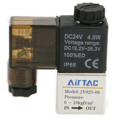 """DC 24V 1/4"""" Pneumatic Electric Solenoid Valve PT Water Air Oil Normally closed"""