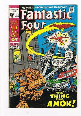 Fantastic Four # 111  The Thing Runs Amok !  grade 4.0 scarce hot book !!