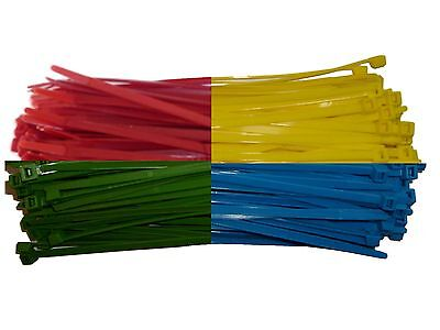 100 x ASSORTED COLOURS Cable Ties 200mm x 4.8mm - Nylon Zip Ties