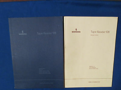 Siemens Tape Reader 108 Service & Operating Manual Original Issue Good Condition