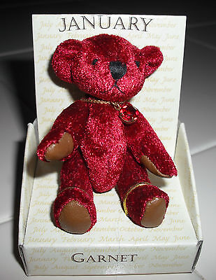 "~ RUSS BERRIE Small 2"" Jointed Birthstone Teddy Bear ~ JANUARY GARNET ~"