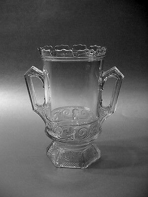EAPG Tall 2-Handled Footed Celery Vase - Scrolls with Victorian Lady Cameo, NICE