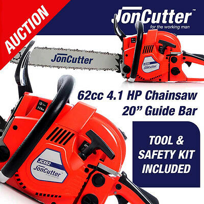 NEW Jon Cutter 62cc Commercial Chainsaw e Start 20  Bar Petrol Chain Saw Pruning