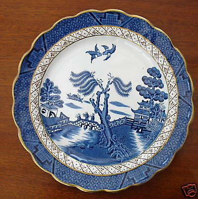 """A VINTAGE BLUE & WHITE BOOTHS REAL OLD WILLOW SALAD  PLATE  8 1/4""""     A8025"""