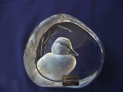 "MATS JANASSON CRYSTAL DUCK 3.6""X4.25""MARKED ART RARE SIGNED PAPERWEIGHT SWEDEN"