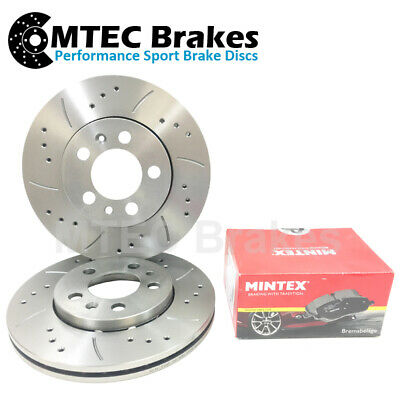 Mini R55 R56 280mm front Option Front Drilled Grooved Brake Discs & Mintex Pads