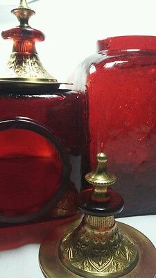 (2) RUBY RED CRACKLE GLASS SQUARE CANISTER JARS w Ornate Brass Temple Style Lids
