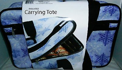 INSULATED CARRYING TOTE for Transporting Hot & Cold Food PURPLE w/ SNOWFLAKES