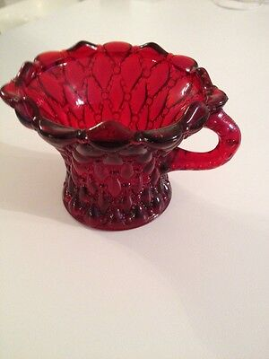 Vintage Ruby Red Quilted Pattern Glass