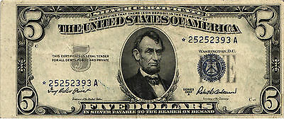 1953-A $5.00 Silver Certificate Star Note Misalignment Error - *25252393A  VF/XF