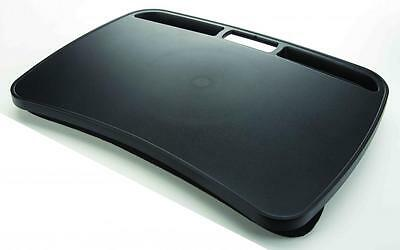 Portable Laptop Desk with Integrated Handle and Microbead-Filled Lap Pads Black