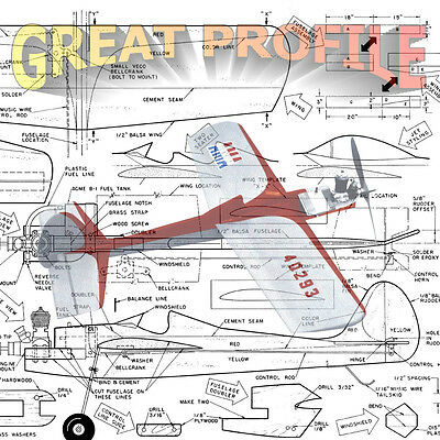 Model Airplane Plans CONTROL LINE AIRPLANE  GREAT PROFILE Building Notes & Plan