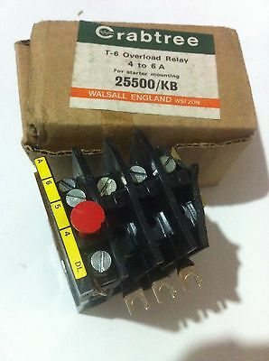 Crabtree T-6 Overload Relay 4 -6 A For Use With Starter Mounting 25500/KB