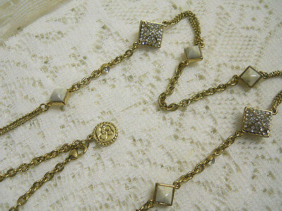 """Vintage Signed Gold Tone Bezel Pave Crystal Marble Glass Bead Necklace 30"""""""