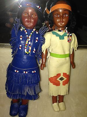 Vintage 1973 Native American Indian Dolls with Papooses