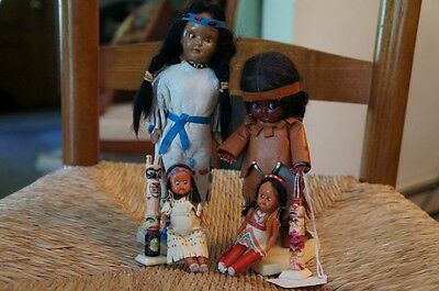 Old Plastic Indian Dolls - four indian dolls