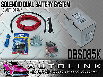 Projecta Dual Battery Kit 12V 100 Amp Solenoid Type Suit 4Wd Auxiliary Surge