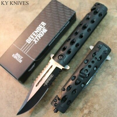 "8.5"" ZOMBIE WAR Black Assisted Open Rescue Pocket Knife NEW 7672 zix"