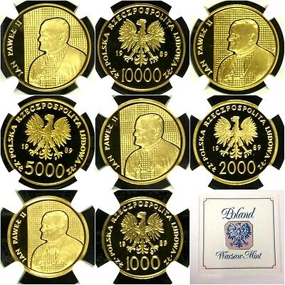 Poland 1989 Set 4 Gold Coins Pope John Paul II NGC PF67-69 Extremely Rare