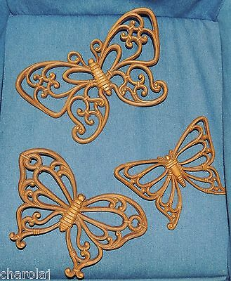 """Homco Syroco INC.  """"Butterfly Plaques"""" Set/3 #7537 Brown Resin Butterflies Sweet"""