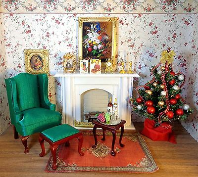 NEW DOLLHOUSE PARLOR, WING CHAIR, FIREPLACE,  CHRISTMAS TREE. ORIENTAL RUG, MORE