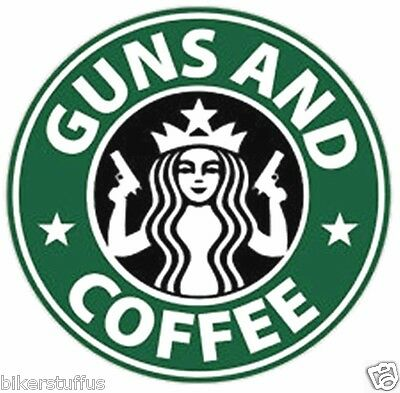 Guns And Coffee Sticker Laptop Sticker Toolbox Sticker Mug Sticker Window