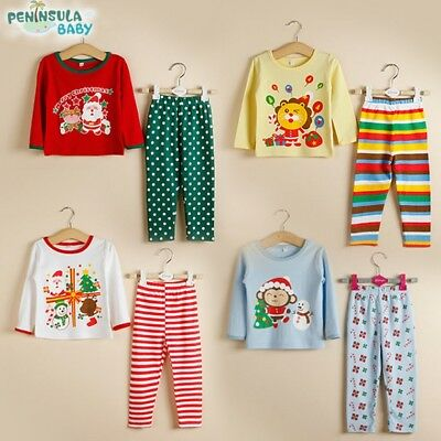 UK STOCK Christmas Santan Snowman Kids Girls Boys Pyjamas PJS Set Present