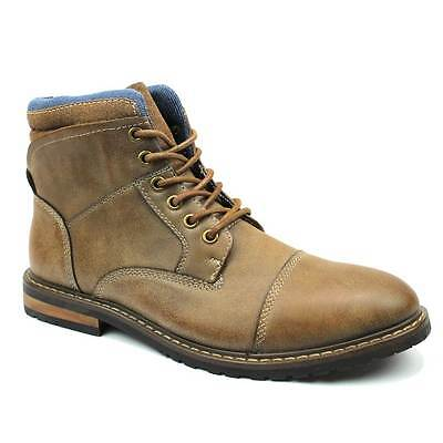 New Men's Brown Ferro Aldo High Top Boots Cap Toe Suede / Leather Lace Up NEW